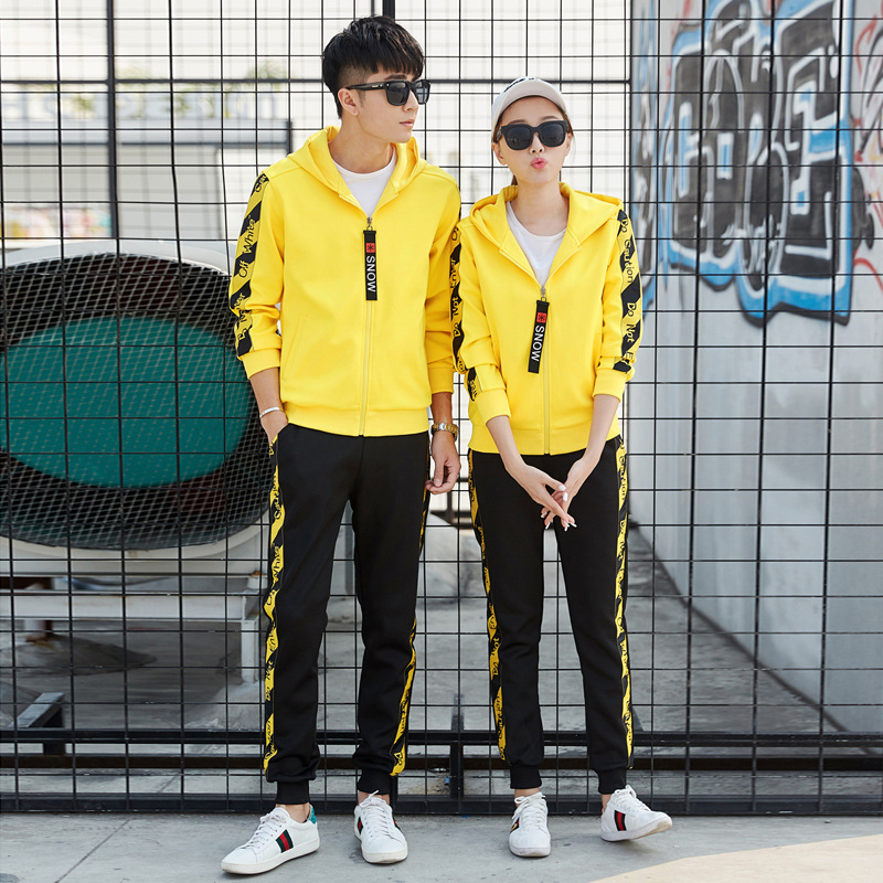 2018 Spring And Autumn New Style Sports Set Men's Korean-style Trend Slim Fit WOMEN'S Dress Casual Sports Hoodie Couples Set