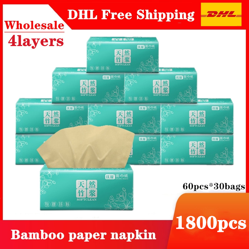 3600pcs  60bags DHL Free Nature Bamboo Soft Paper Napkin For Restaurant Table Dinner Paper Tissues Party Supplies Disposable