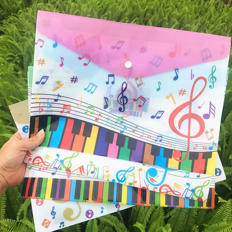 1 Pcs Cute A4 Music Theme Piano Instruments Document Bags Examination File Holder Student Storage Organizer Stationery Gifts