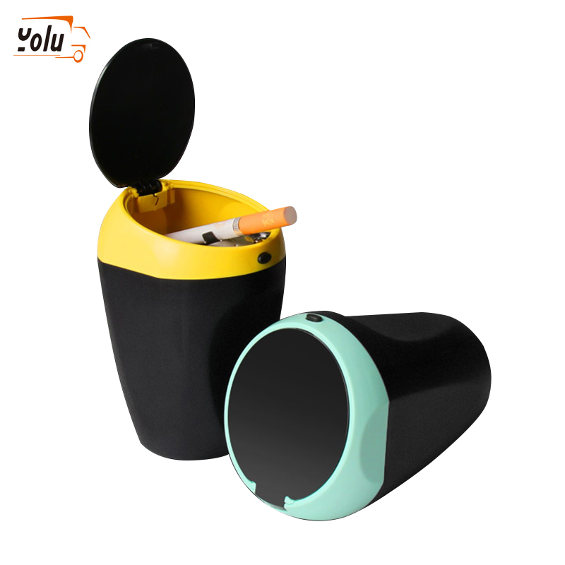YOLU Car Ashtray High Flame Retardant Ashtray Plastic Ashtray Manufacturer Portable Simple Car Ashtray Yellow/Blue