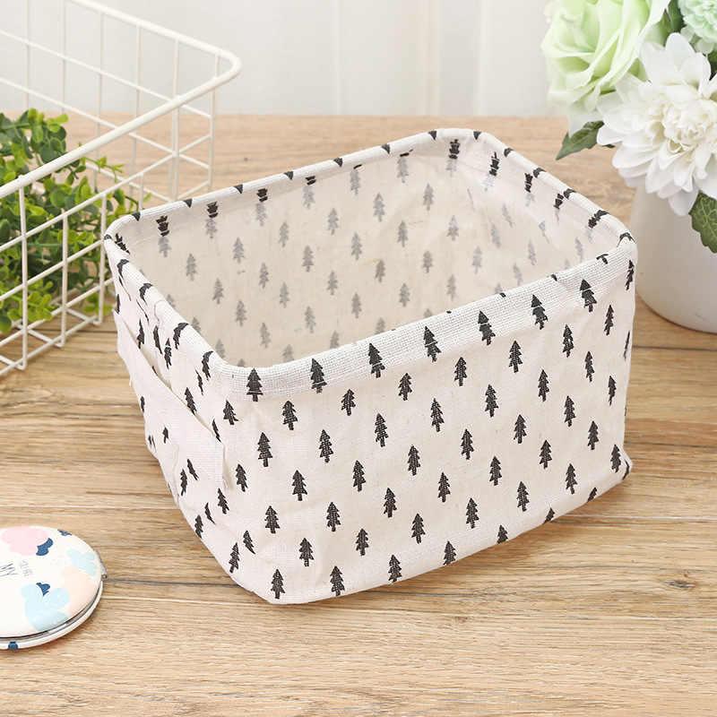 Dot Sterne Baumwolle Leinen Desktop Storage Korb Kleinigkeiten Lagerung Box mit Griff Leinen Schreibtisch Container Make-Up Veranstalter Fall
