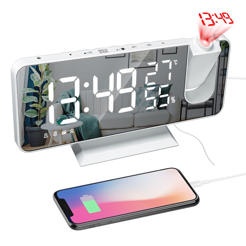 СВЕТОДИОДНЫЙ цифровой проекционный будильник, настольные электронные часы, USB зарядка, FM-радио, проектор времени, функция повтора, 2 будильн...