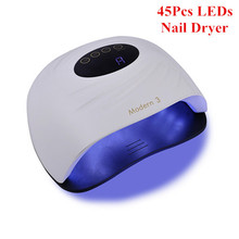 120W נייל מייבש 45Pcs UV LED מנורת חרוזים נייל מנורות עם LCD טיימר מהיר ייבוש מניקור כלים חכם מכונה מייבש