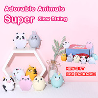 8Pcs Adorable Animals Slow Rising Cream Scented Stress Relief Soft Novelty Toy Egg Combination Squish Toys For Kid Child A1