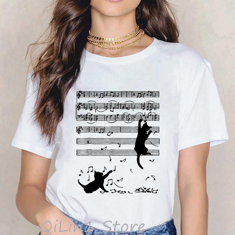 참신 음악 노트 검은 고양이 동물 프린트 tshirt 여성 하라주쿠 kawaii 의류 여름 가기 여성 티셔츠 tumblr 그래픽 티셔츠