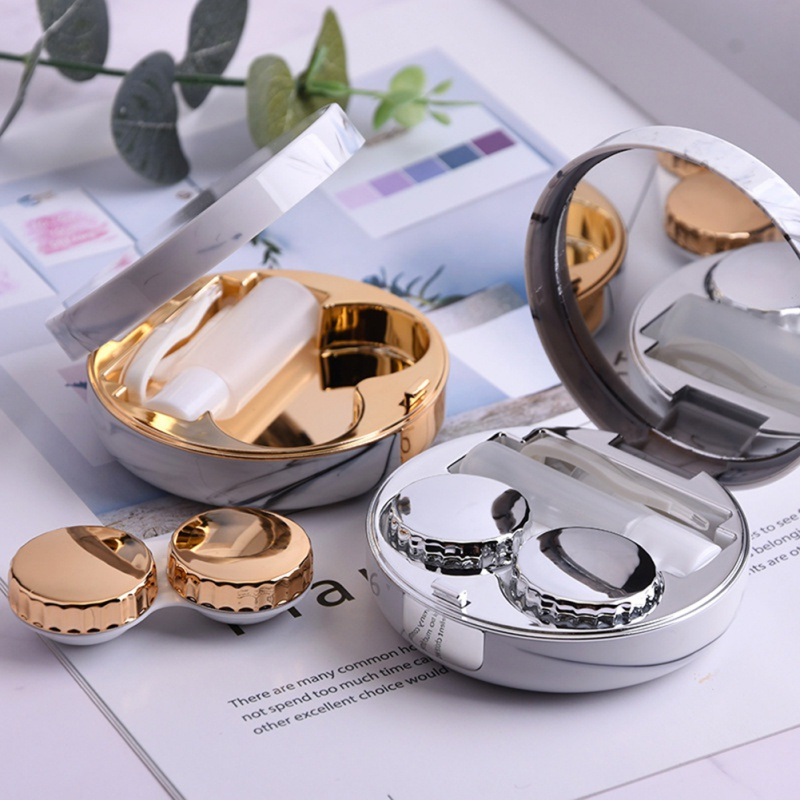 Marble Contact Lens Round Case with Mirror