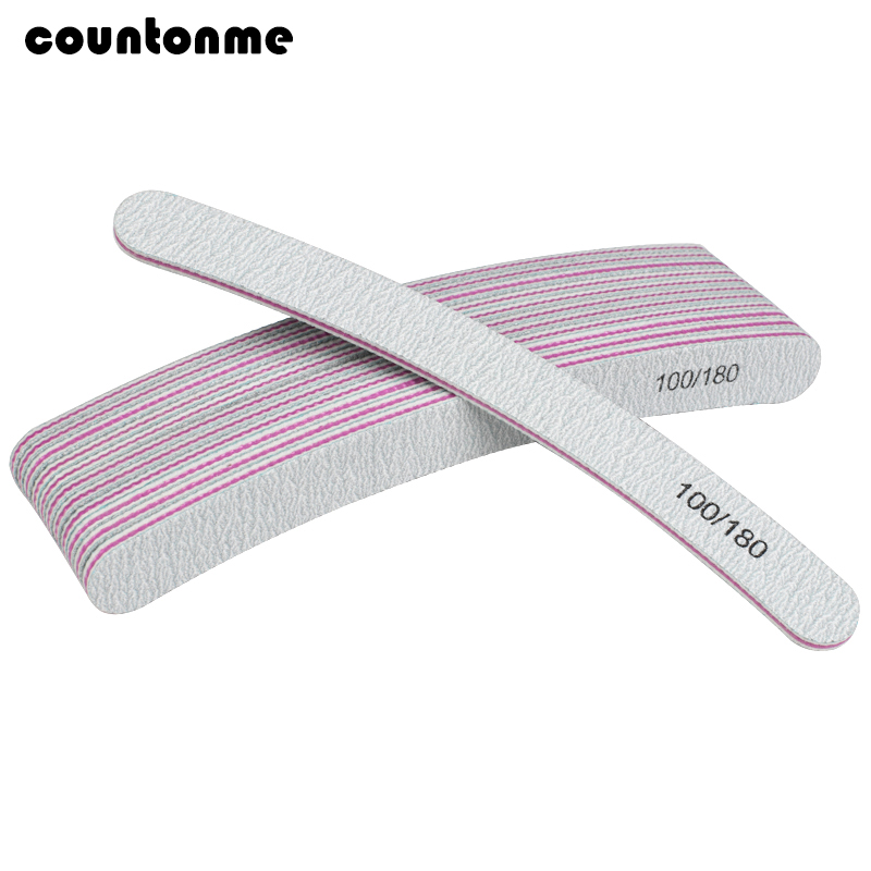 10pcs Curved Nail File For Manicure Grey Sandpaper 100/180 Sanding Polisher Buffer Block Washable Nail Care Tool Lime A Ongle