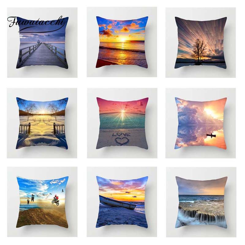 Fuwatacchi Sunrise Scenic Cushion Cover Colorful Cloud Snow Throw Pillow Cover Decorative Pillow Cover Sofa Pillowcase