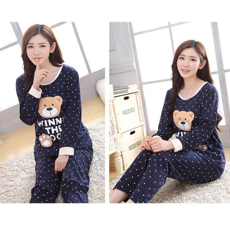 Women Sleep Wear Long Sleeve Cute Cartoon Bear Sleepwear Autumn Winter   Pajama     Set   Nightwear Homewear Suit