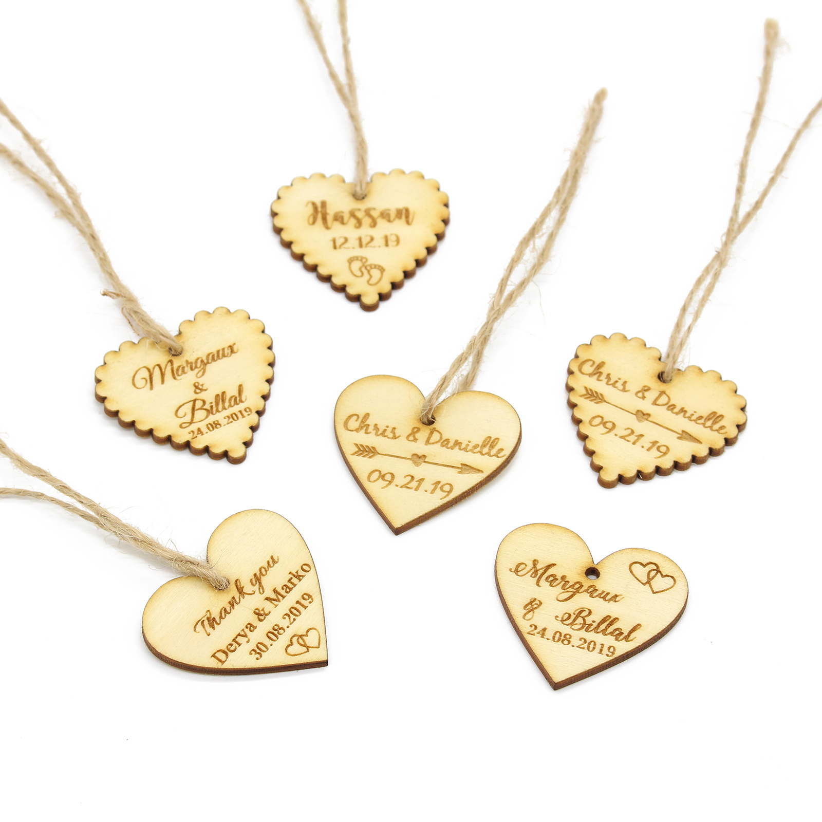 5x wooden laser cut Personalised Hearts Wedding Guestbook Name 3mm Thick