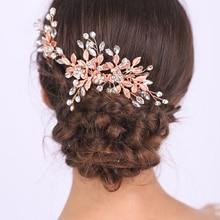 Classic Rose Gold Hair Comb Female Glamour Headdress Shiny Rhinestones Hair Clip Suit