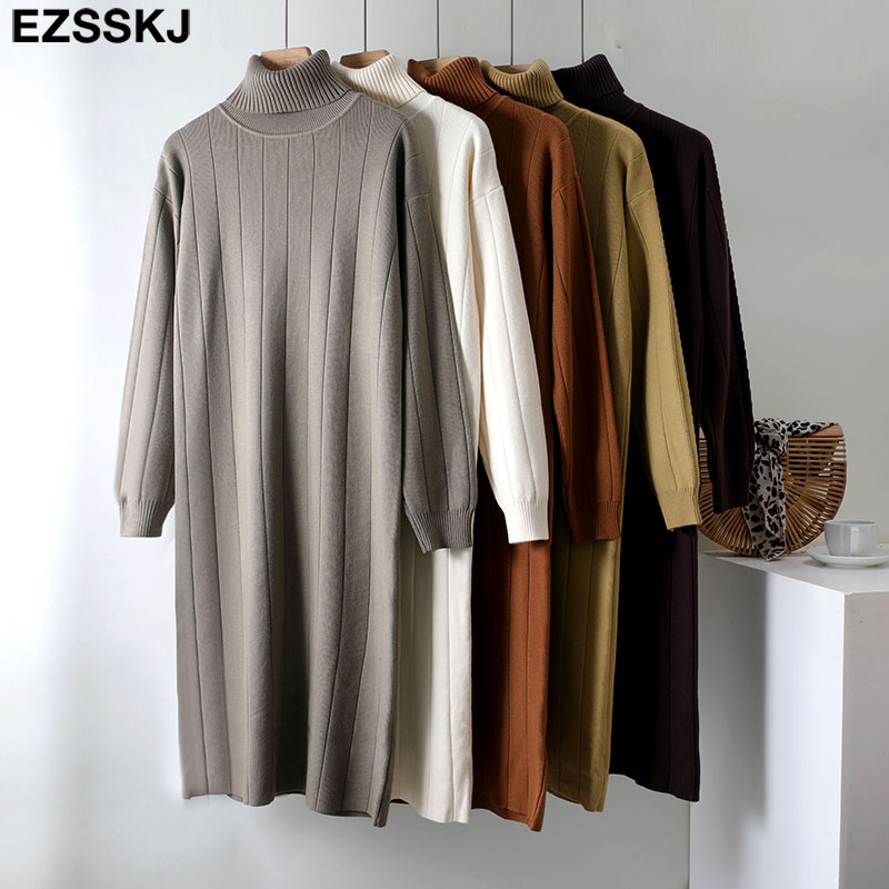 2021 Autumn Winter long thick Sweater Dress Women turtleneck long Sleeve straight maix Dress female girl warm long dress 4