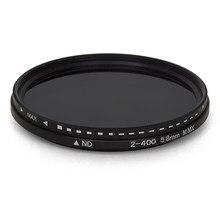 Nova chegada fader nd variável filtro nd2 ajustável para nd400 densidade neutra para lente da câmera