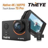 ThiEYE T5 Pro 4K action camera Real ultra hd 4K 60fps z ekranem dotykowym WiFi kamera akcji z pilotem na żywo podwodna kamera sportowa 60M