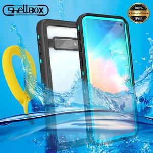Image 1 - IP68 sualtı su geçirmez telefon kılıfı Samsung not 10 + artı S10 S8 S9 artı dalış su geçirmez standı durumda Galaxy not 8 9