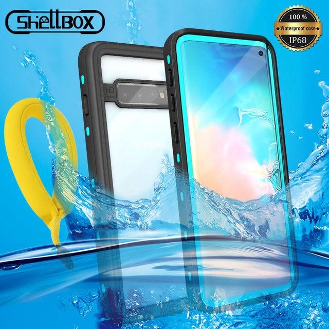 IP68 sualtı su geçirmez telefon kılıfı Samsung not 10 + artı S10 S8 S9 artı dalış su geçirmez standı durumda Galaxy not 8 9