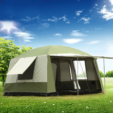 Ultralarge 6 12 Person Double Layer Outdoor 2 Living Rooms 1 Hall Family Camping Tent Waterproof Ultralarge Camping Tent