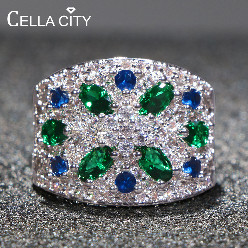 Cellacity Luxury Fine Jewelry Silver 925 Ring for Women Colorful Gemstones Exaggerated Gorgeous Design Flower Emerald Sapphire
