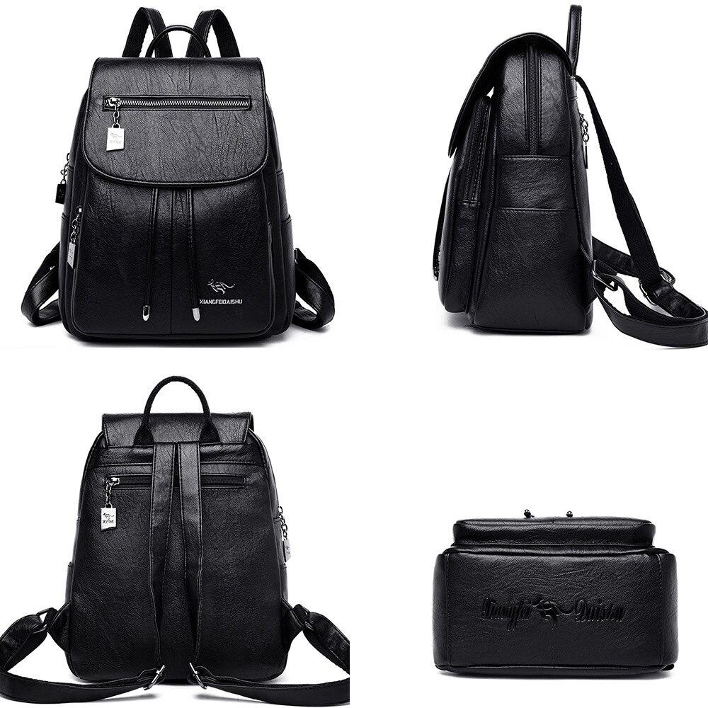 Image 5 - Luxury Women Backpacks 2019 Soft Leather Female Travel Shoulder  Bags Backpack High Quality School Bags For Girls Bolsa  MochilasBackpacks