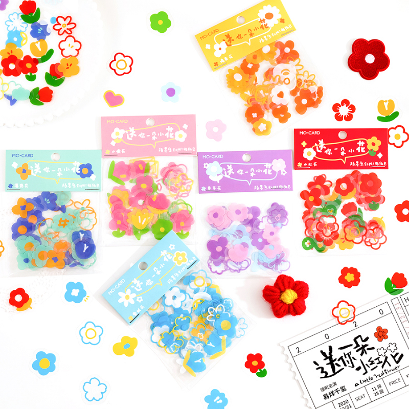 COO NOTE 8 Designs/ Ins Style Chiding Floret Series Creative Cute Hand Account DIY Decoration Collage Material Stickers
