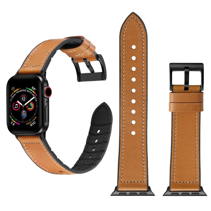 Suitable For APPLE Watch Four Generations 44 Size Solid Color TPU Lagging + Stainless Steel Watch Band