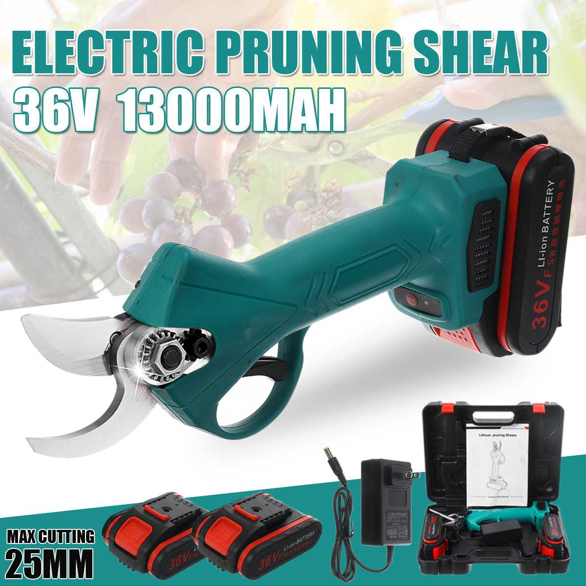 25mm 36V Electric Pruning Shears Pruner Trimmer with 2 Li-on Battery Cordless Sharp- Blade Cutter Garden Scissors Rechargeable