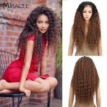 Perruque Lace Front Wig synthétique bouclée 30 pouces, perruque Afro pour Cosplay, perruque Blonde ombrée, perruque naturelle Miracle Hair pour femmes