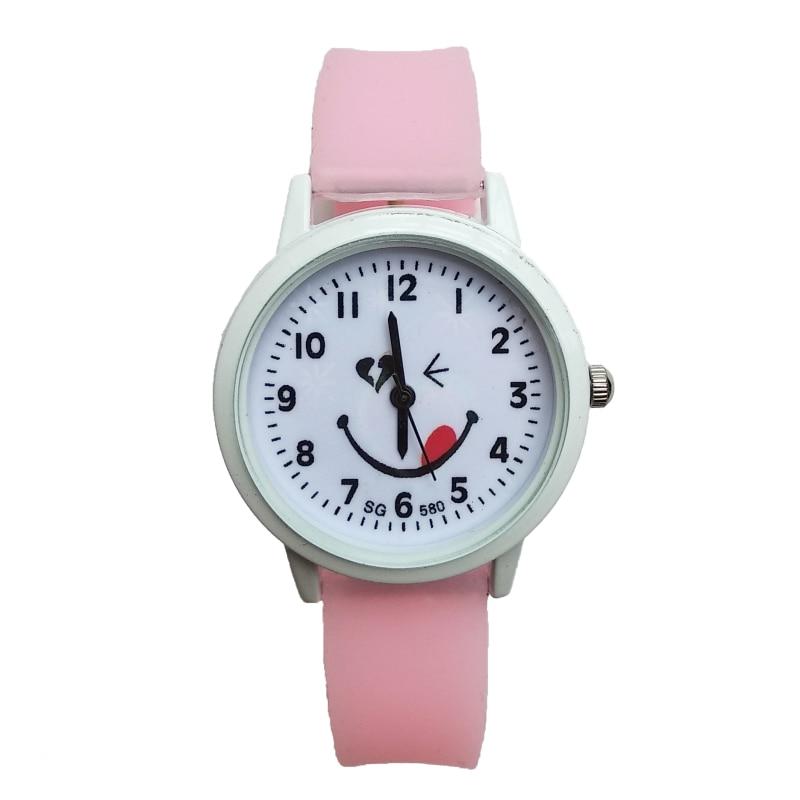 High Quality Fashion Smiley Face Kids Watches Children Girl Rubber Quartz Watch Boy Wristwatches Clock Horloge Kinderen Kid Gift