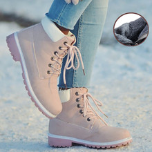 New Winter Women Ankle Snow Boot Leather Fur Wedges Warm Plush Rubber Platform Lace Up Pink Ladies Boots Men Mujer