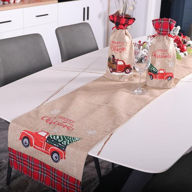 180*35cm Christmas Table Runner Car Tree Flower Tablecloth Dinner Table Runner Mat Christmas Table Decoration 2