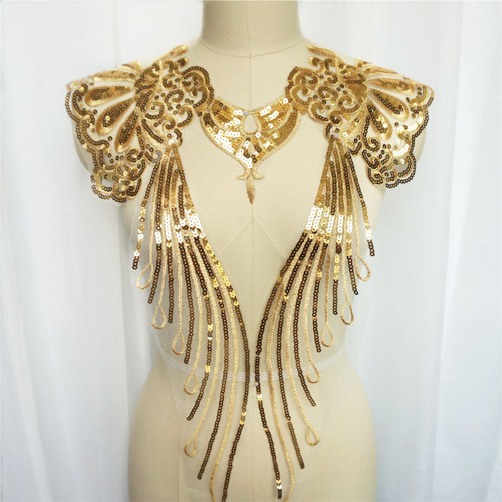 1Set 5pcs Gold Colour Sequin Noble Gown Advanced Appliques Embroidered Tassel Collar Mesh Sew Patch For Wedding Decoration Dress