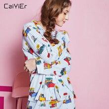 Caiyier Ladies Cute Print Pajamas Set Cotton Cartoon Long Sl