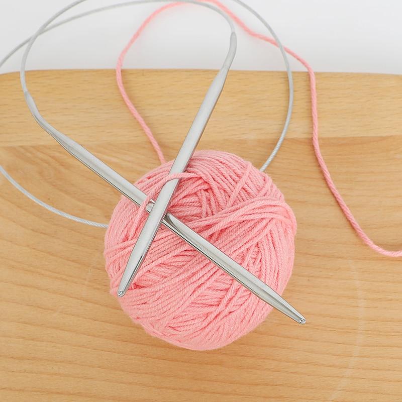 Looen 11pcs Stainless Steel Circular Knitting Needles Crochet Hook Weave Set DIY Yarn Weave Craft Tools
