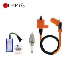 High Quality Performance Racing GY6 Ignition Coil + A7TC Spark Plug + 6 Pin AC CDI For 50cc   125cc 150cc Scooter Moped ATV 3Pcs