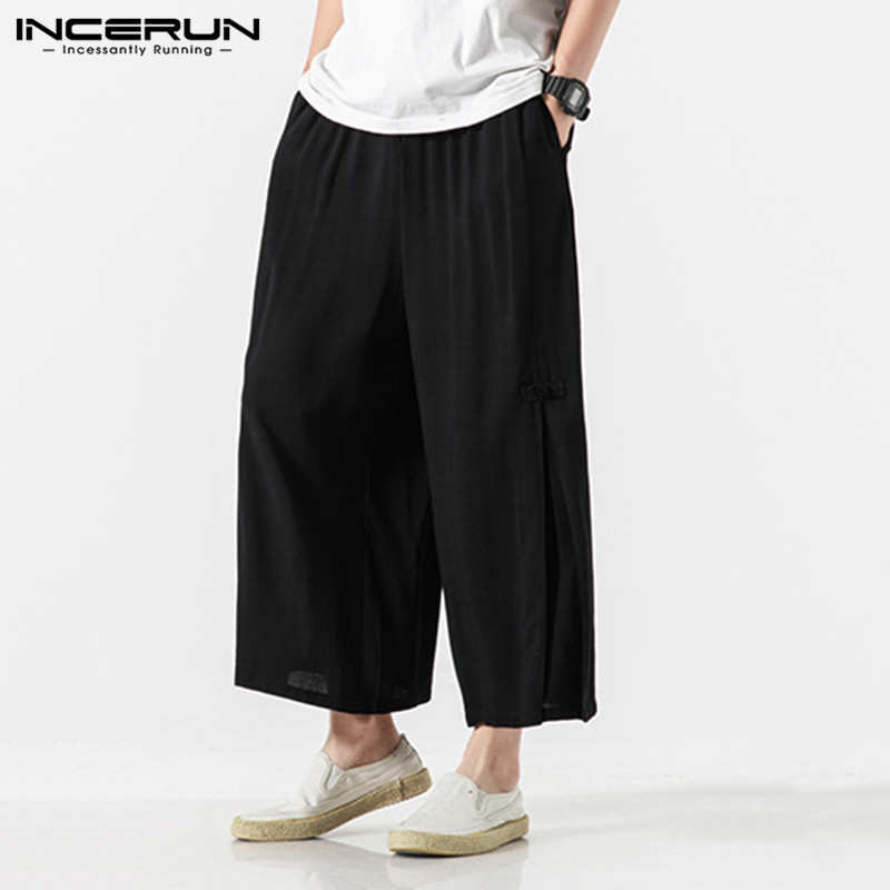 Vintage Men Pants Solid Casual Joggers Streetwear Chinese Style Trousers Loose Elastic Waist Men's Wide Leg Pants S-5XL INCERUN