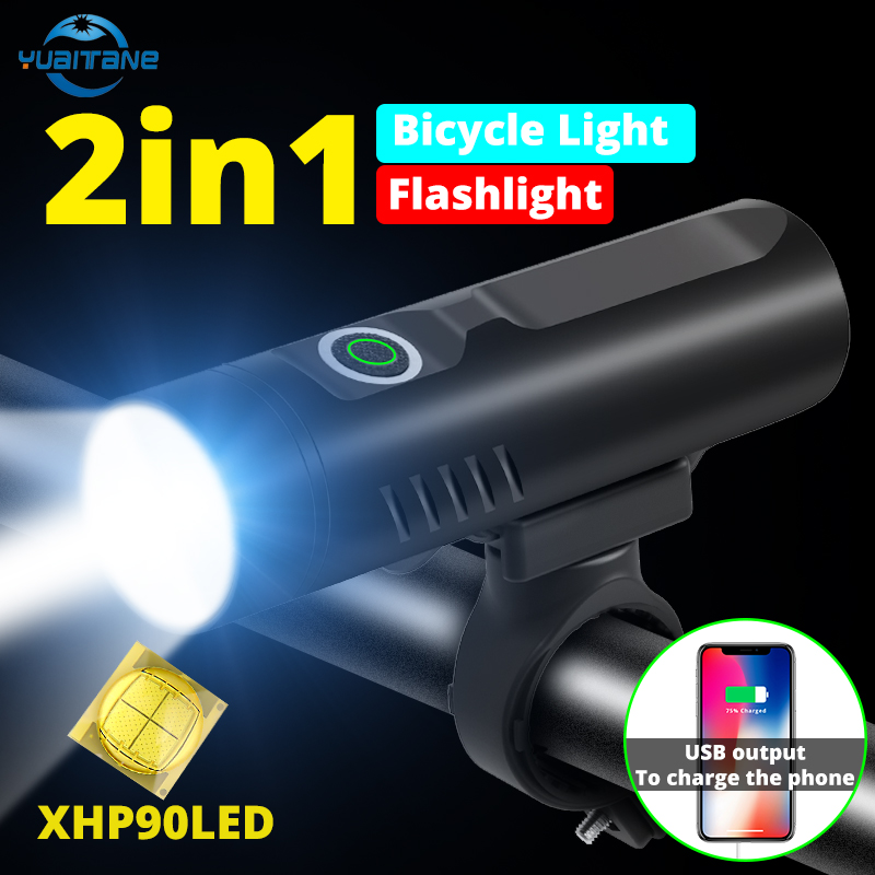 XHP90 Newest 3200mAh Bike Light XHP50 Front Bicycle Light L2 T6 USB Rechargeable Flashlight 3Modes Cycling Lantern As Power Bank