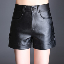 #0575 Spring Autumn PU Leather Shorts Women Booty For Plus Size Korean Casual Sexy Faux Female Black