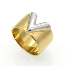 Trendy Stainless Steel Rings for Women Gold Ring  V-Shape Word Style Female Jewelry