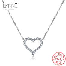 Hot Sale Fashion 925 Sterling Silver Heart Pendants Necklaces Birthday Rhinestone Charm Clavicle Necklace For Women Jewelry Gift