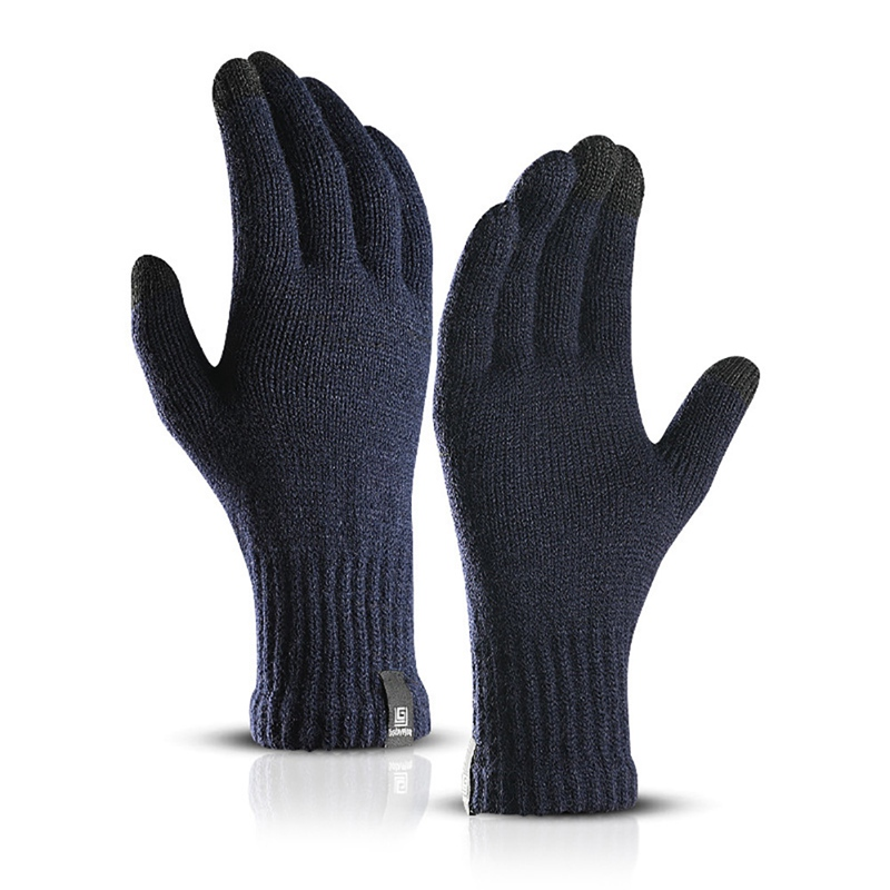 Cycling Golves Winter Solid Color Gloves Knitted Wool Touch Screen Gloves Men Warm Short Plush Lining Full Finger Sport Gloves