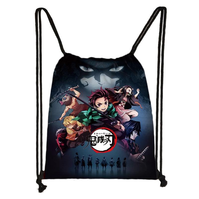 Backpack Demon Slayer: Kimetsu No Yaiba Canvas Bag Tomioka Giyuu School Bags Girls Travel Bag Mochila Feminina Notebook Bags