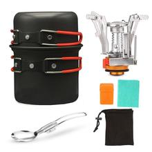 Outdoor & Home Cookware Sets Classic Delicate Outdoor Camping Automatic Ignition Canister Stove Pot Portable Cooking Tool Set mini camping automatic ignition stove portable electronic ignition fogao cooker outdoor cooking camp gaz kamp ocak