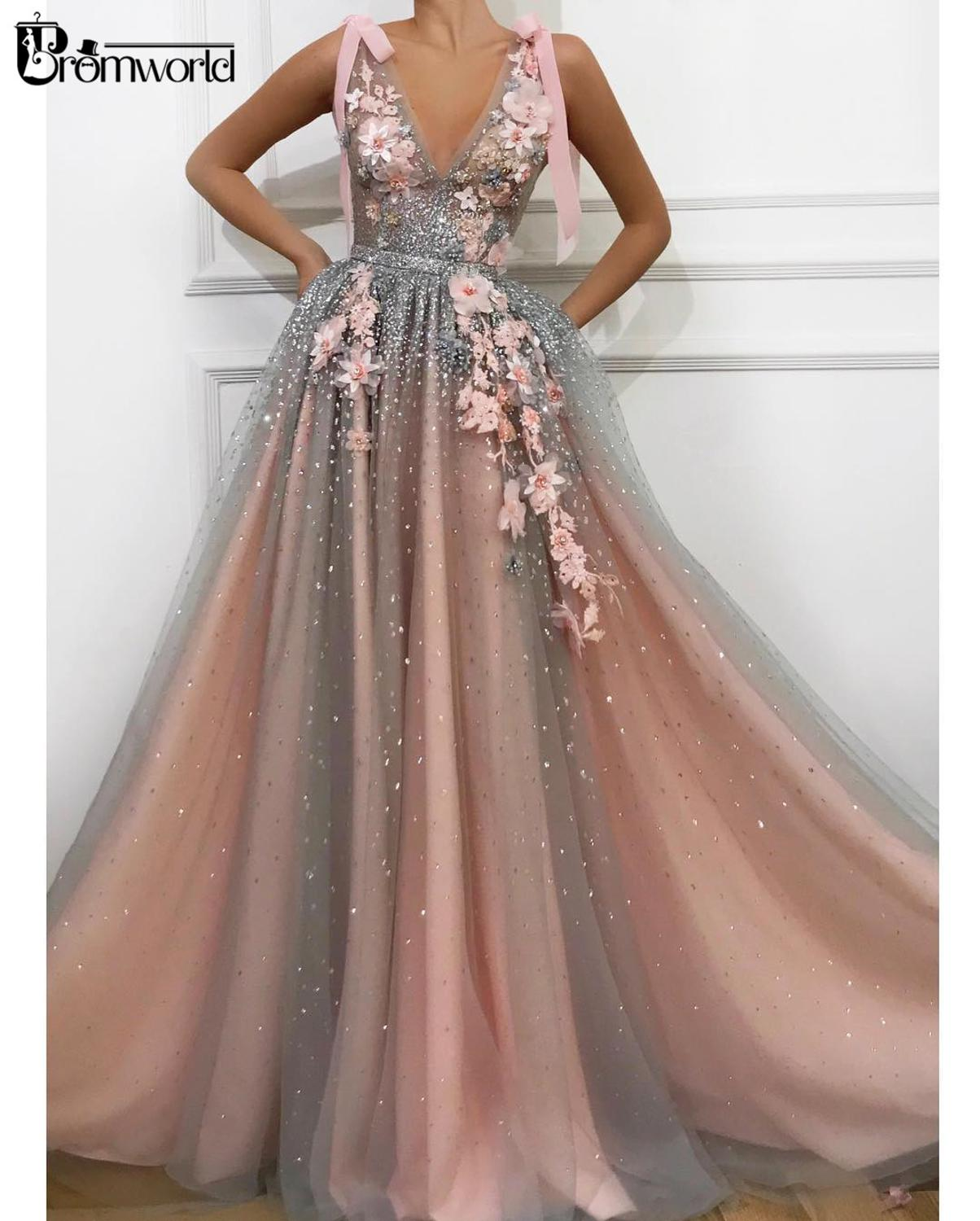 Pink Crystals Prom Dresses 2020 V-Neck Tulle Lace Flowers Beaded Vestidos De Gala Long Prom Gown Evening Party Robe De Soiree