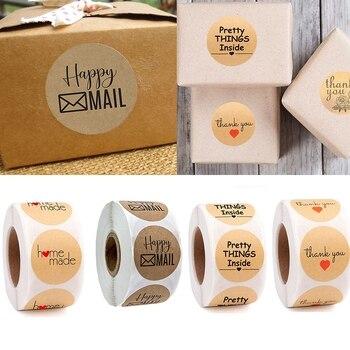 500 Pcs/Roll Creative Round Thank You Hand Made Kraft Paper Sticker DIY Envelopes Seal Label Gift Bag Decoration jwhcj creative arts font thank you
