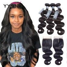 Tissage en lot brésilien Remy à lace closure-Yyong Hair, cheveux naturels, avec closure, 4x4, 3 lots, lot de 4