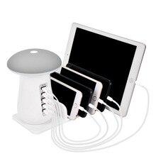 Besegad Multi Port USB Ladegerät USB Ladestation Dock QC 3,0 Schnell Pilz Nacht Lampe Ladegerät für Handy und tablet