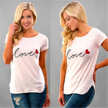 T-shirty damskie t-shirty damskie t-shirty treningowe i treningowe T-Shirt miłosny nadruk liter z krótkim rękawem O Neck Summer Tops Tees tanie i dobre opinie WOMEN Pasuje prawda na wymiar weź swój normalny rozmiar Oddychająca Casual T-Shirts S M L XL XXL xxxl Women Trainning Exercise T-shirts