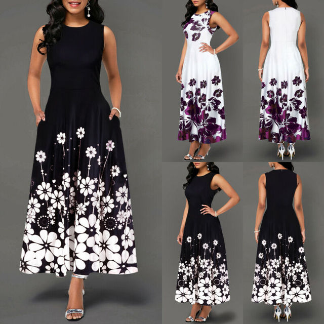 Sleeveless Floral Printed Elegant Summer Beach Maxi Dress 3