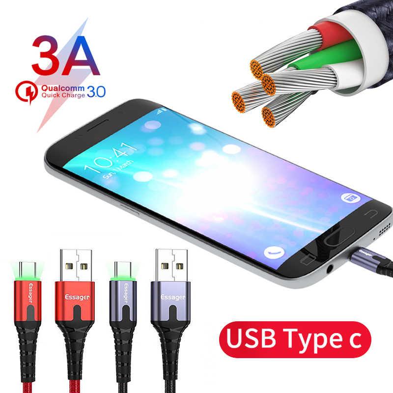 Essager LED USB نوع C كابل 3m سريع تهمة سلك الحبل USBC كابل ل Xiaomi سامسونج Oneplus 7 برو الهاتف المحمول USB-C شاحن
