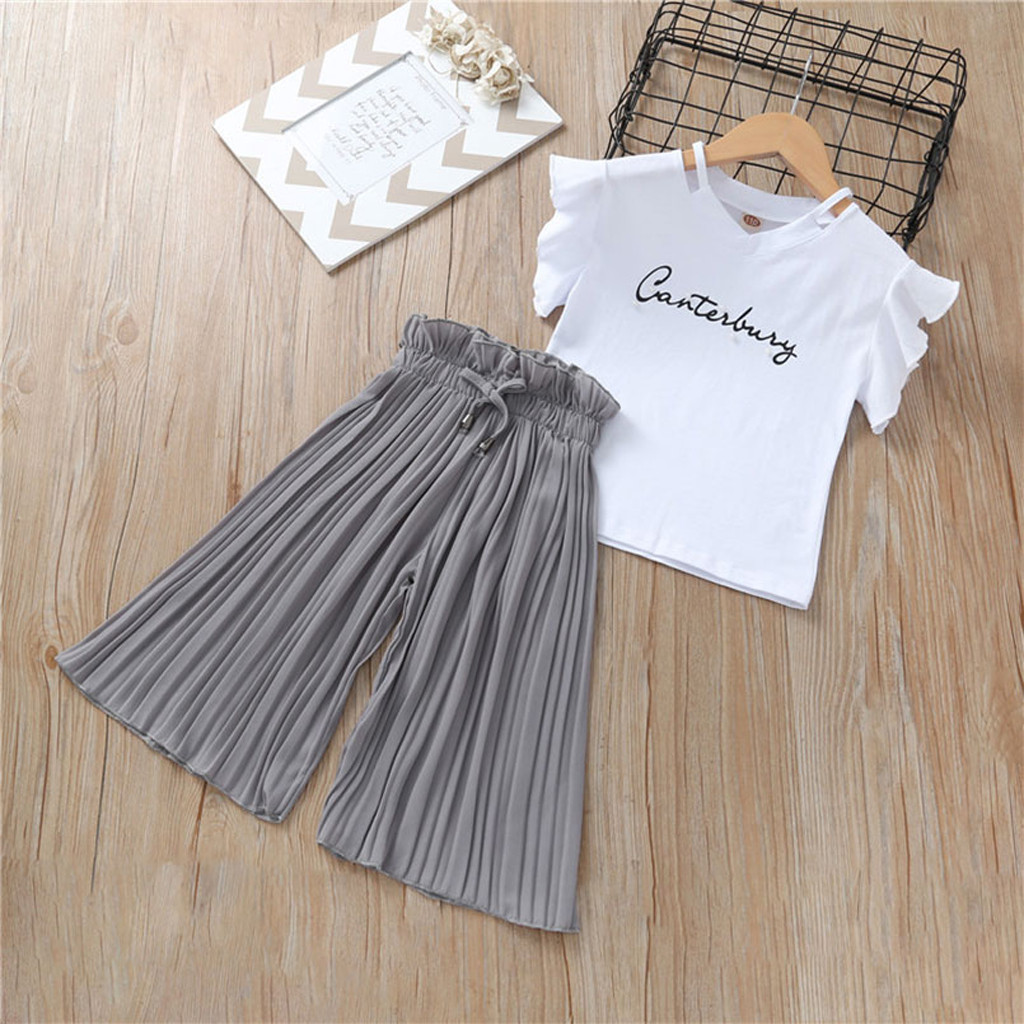 Summer New Fashion Children Kids Baby Girls Letter T Shirt Tops+Ruffle Loose Pants Outfits Costume Free Ship Roupa Infantil Z4